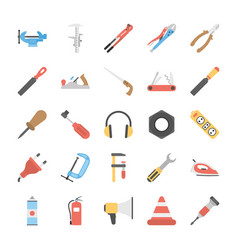 Flat icons set of tools vector