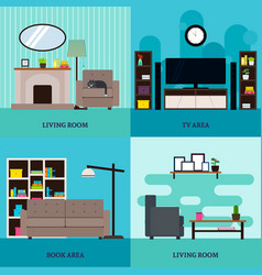 flat living room interior square concept vector image