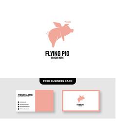 Flying pig logo design template free business vector