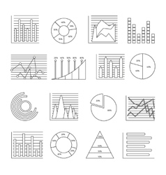 Graphs Line Icon Set vector