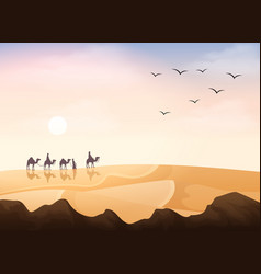 Group of arab people riding with camels caravan in vector