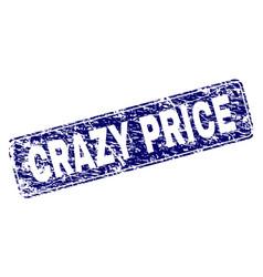 Grunge crazy price framed rounded rectangle stamp vector