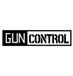 Gun control black stamp on white vector