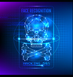 hacking face recognition system vector image