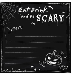 Halloween party chalkboard menu vector image