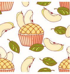 Hand drawn seamless pattern with apple pie cupcake vector