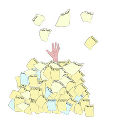 hand sticking out of a pile of lawsuits vector image