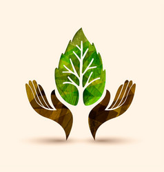 hand tree green leaf nature help vector image
