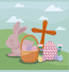 happy easter day card with cute rabbit and icons vector image