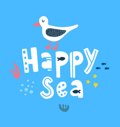 happy seagull vector image