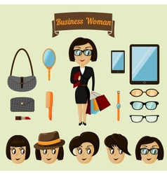 Hipster character pack for business woman vector image