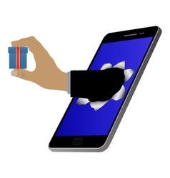 Hole on the screen and hand with a gift vector image