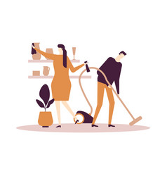 Household chores - flat design style colorful vector