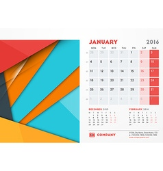 January 2016 Desk Calendar for 2016 Year vector