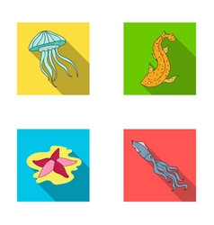 Jellyfish squid and other speciessea animals set vector