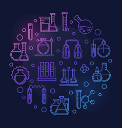 laboratory equipment round colored outline vector image