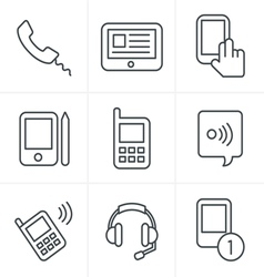 Line Icons Style black phone icons set on gray vector