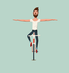 man riding a bike without holding the handlebars vector image