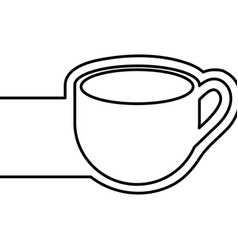 Monochrome contour with coffee cup and banner vector