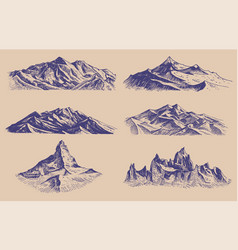 Mountains peaks and climbing hill hand drawn vector