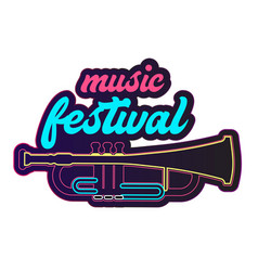 neon music festival trumpet background imag vector image