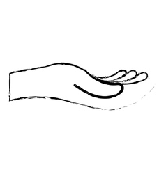 Open hand sideview icon image vector