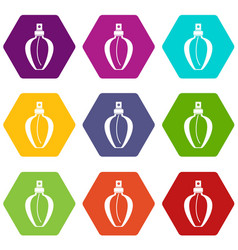 Parfume bottle icon set color hexahedron vector