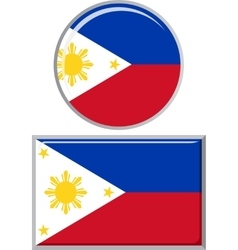 Philippines round and square icon flag vector
