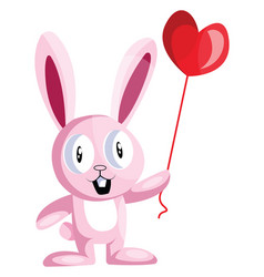 pink bunny holding a heart shaped balloon on vector image