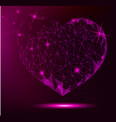 polygonal heart on violet background for greeting vector image