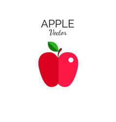 red apple flat style icon symbol vector image