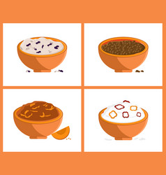 Rice and buckweat collection vector