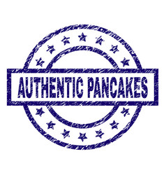 scratched textured authentic pancakes stamp seal vector image
