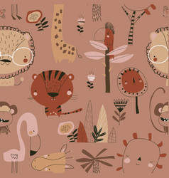 seamless pattern with cartoon wild animals on vector image