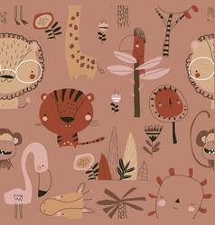 Seamless pattern with cartoon wild animals on vector