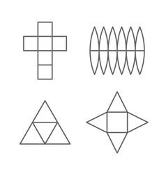set 3d fugure shapes on a plane line drawing vector image