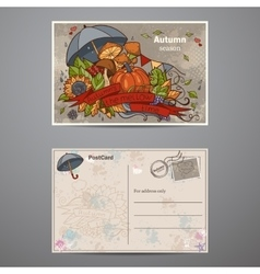 set cards two sides on autumn theme vector image
