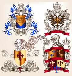 Set heraldic shields in vintage style vector