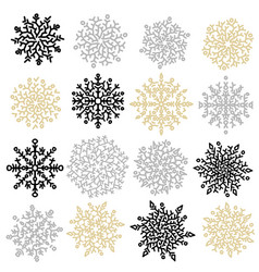 set of black gold and silver snowflakes vector image