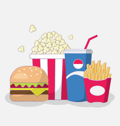 set of fast food cute cartoon art vector image