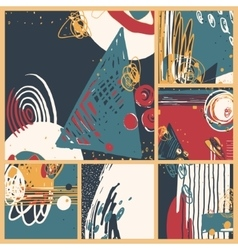 Set of modern abstract contemporary painting in vector