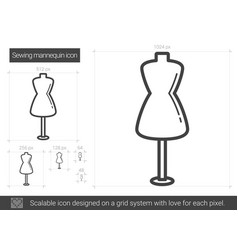 sewing mannequin line icon vector image