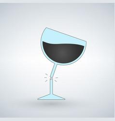 silhouette of broken wine glass vector image