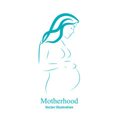 Sketch of a pregnant woman vector