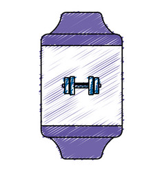 Smartwatch device with sport app vector