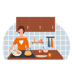 smiling female character is cooking breakfast in vector image