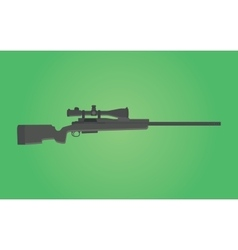 Sniper rifle gun isolated with green background vector