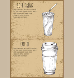 Soft drink and coffee cup monochrome sketches vector