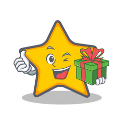 Star character cartoon style with gift vector