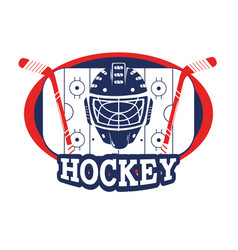 Sticker with hockey helmet and sticks in the rink vector